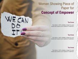 Women Showing Piece Of Paper For Concept Of Empower