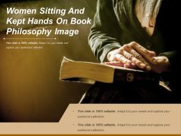 Women Sitting And Kept Hands On Book Philosophy Image