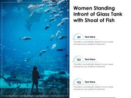 Women Standing Infront Of Glass Tank With Shoal Of Fish