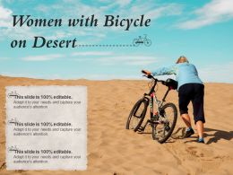 Women With Bicycle On Desert