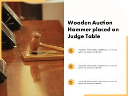 Wooden Auction Hammer Placed On Judge Table