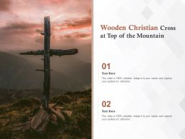 Wooden Christian Cross At Top Of The Mountain