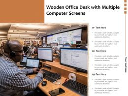 Wooden Office Desk With Multiple Computer Screens