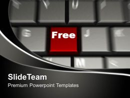 Word Free On Red Button Keyboard PowerPoint Templates PPT Themes And Graphics 0213