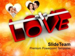 Word Love With White Ribbon Wedding PowerPoint Templates PPT Themes And Graphics 0213