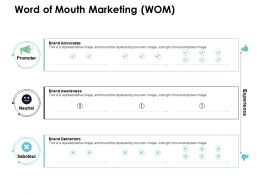 Word Of Mouth Marketing Wom Brand Advocates Brand Awareness Ppt Powerpoint Icons