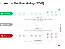 Word Of Mouth Marketing WOM Brand Awareness Powerpoint Presentation Template