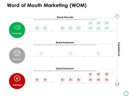 Word Of Mouth Marketing Wom Promoter Ppt Powerpoint Presentation Icon Show