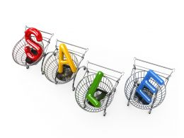 Word Sale In Four Shopping Carts On White Background Stock Photo