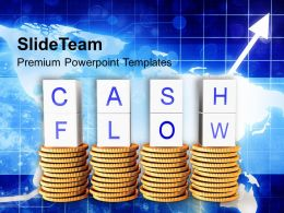Words Cash Flow On Golden Coins PowerPoint Templates PPT Themes And Graphics 0213