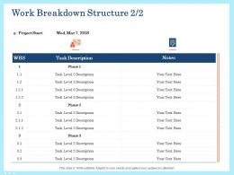 Work Breakdown Structure Project Ppt Visual Aids Example File