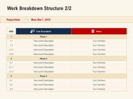 Work Breakdown Structure Task Description Ppt Presentation Layout
