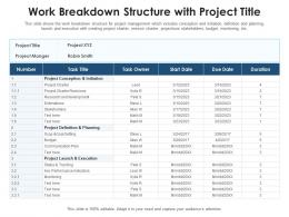 Work Breakdown Structure With Project Title