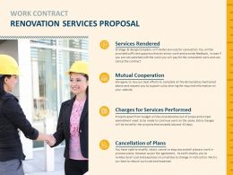 Work Contract Renovation Services Proposal Cooperation Ppt Powerpoint Slides
