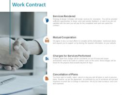 Work Contract Services Rendered Ppt Powerpoint Presentation Summary Information