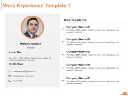 Work Experience About Me Ppt Powerpoint Presentation Infographic Template Example