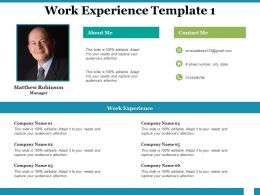 Work Experience Contact Me Ppt Powerpoint Presentation Gallery Example Introduction