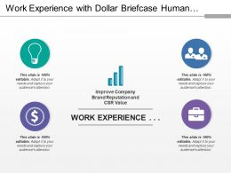 Work Experience With Dollar Briefcase Human Bulb Icons