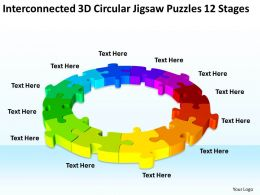 Work Flow Business Process Diagram 3d Circular Jigsaw Puzzles 12 Stages Powerpoint Templates