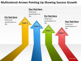 Work Flow Business Process Diagram Arrows Pointing Up Showing Success Growth Powerpoint Slides