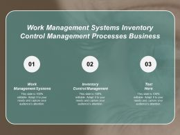 Work Management Systems Inventory Control Management Processes Business Cpb
