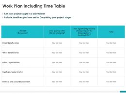 Work Plan Including Time Table Ppt Powerpoint Presentation Layouts