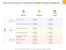 Work Plan Schedule For Advertising Campaign Proposal Template Planning Ppt Powerpoint Grid