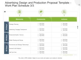 Work Plan Schedule Planning Advertising Design And Production Proposal Template Ppt Show