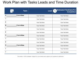 Work Plan With Tasks Leads And Time Duration