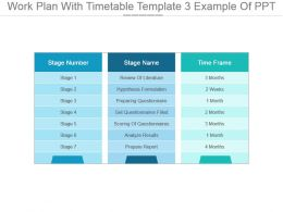 Work Plan With Timetable Template 3 Example Of Ppt