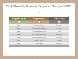 Work Plan With Timetable Template 3 Sample Of Ppt