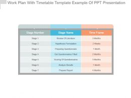 Work Plan With Timetable Template Example Of Ppt Presentation