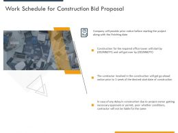 Work Schedule For Construction Bid Proposal Ppt Powerpoint Presentation Inspiration Outline