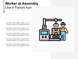 Worker At Assembly Line In Factory Icon