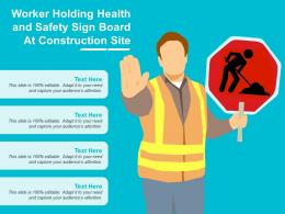 Worker Holding Health And Safety Sign Board At Construction Site