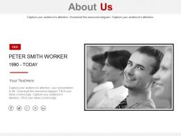 Worker Information Photo About Us Powerpoint Slides