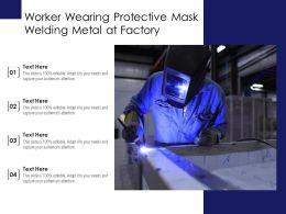 Worker Wearing Protective Mask Welding Metal At Factory