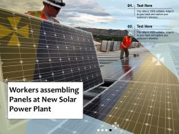 Workers Assembling Panels At New Solar Power Plant