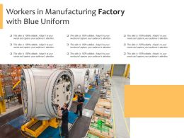 Workers In Manufacturing Factory With Blue Uniform
