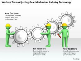 Workers Team Adjusting Gear Mechanism Industry Technology Ppt Graphics Icons Powerpoint