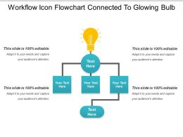 Workflow Icon Flowchart Connected To Glowing Bulb