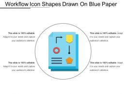 Workflow Icon Shapes Drawn On Blue Paper