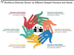 Workforce Diversity Shown By Different Shaped Humans And Hands