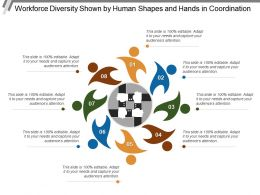Workforce Diversity Shown By Human Shapes And Hands In Coordination