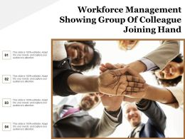 Workforce Management Showing Group Of Colleague Joining Hand