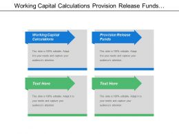 Working Capital Calculations Provision Release Funds Capital Budgeting
