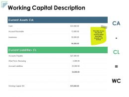 Working Capital Description Assets Liabilities Ppt Powerpoint Presentation Icon Background Images