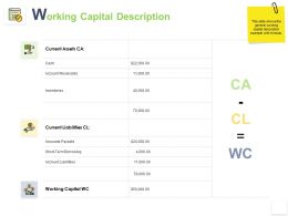 Working Capital Description Current Assets Ppt Powerpoint Presentation Infographics Icon