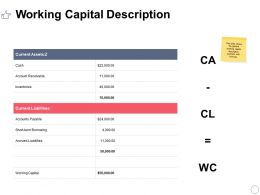 Working Capital Description Ppt Powerpoint Presentation Layouts