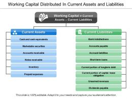 Working Capital Distributed In Current Assets And Liabilities